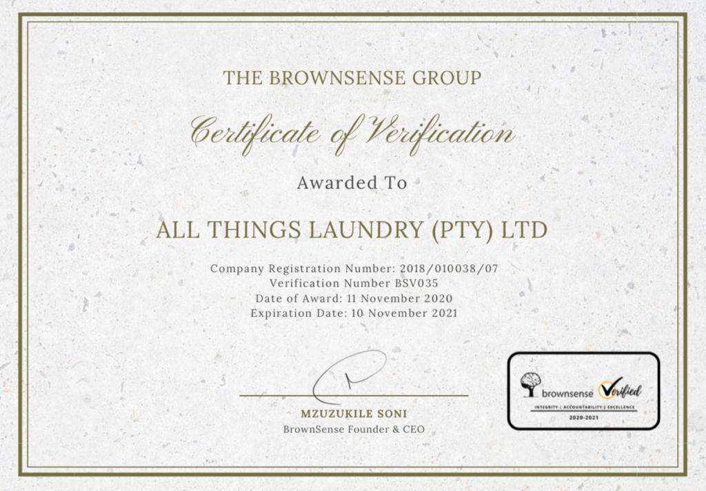 Certificate of Verification